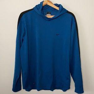 Nike Blue Dri Fit Long Sleeve Hoodie Large